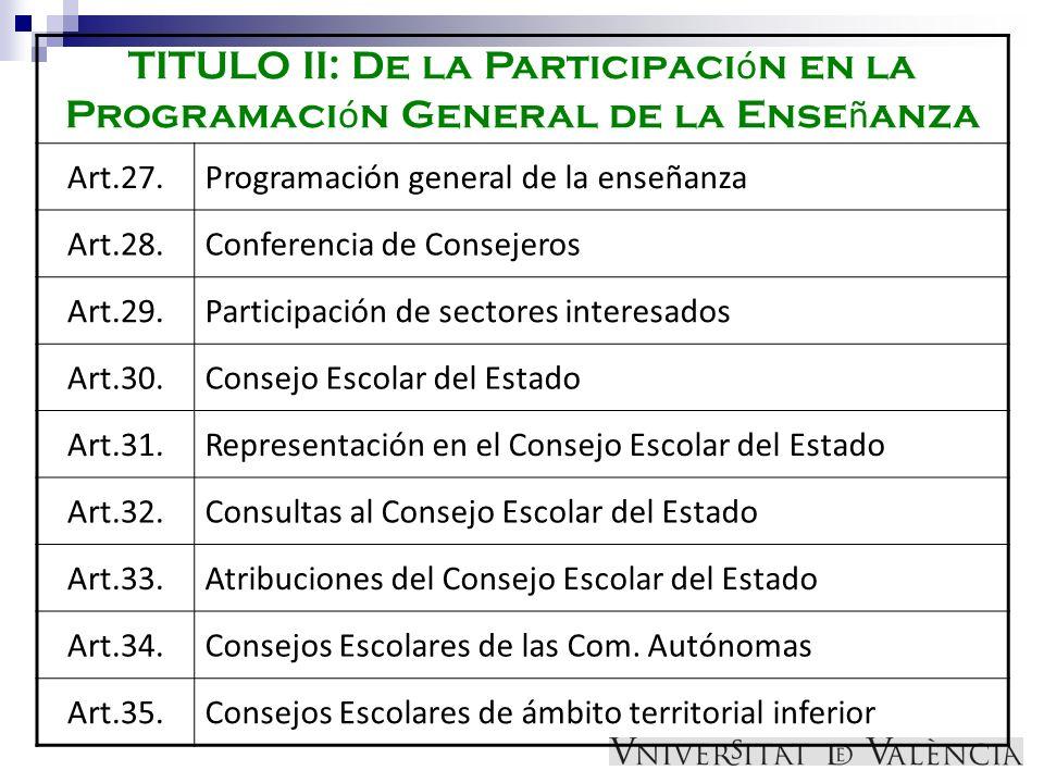 TITULO II: De la Participación en la Programación General de la Enseñanza