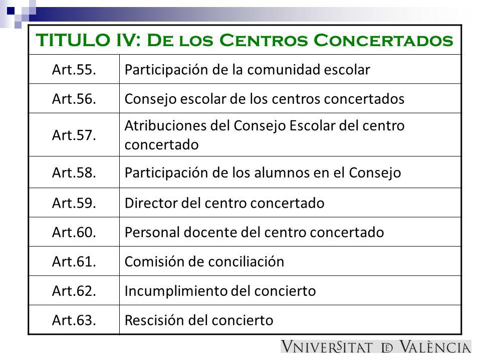 TITULO IV: De los Centros Concertados