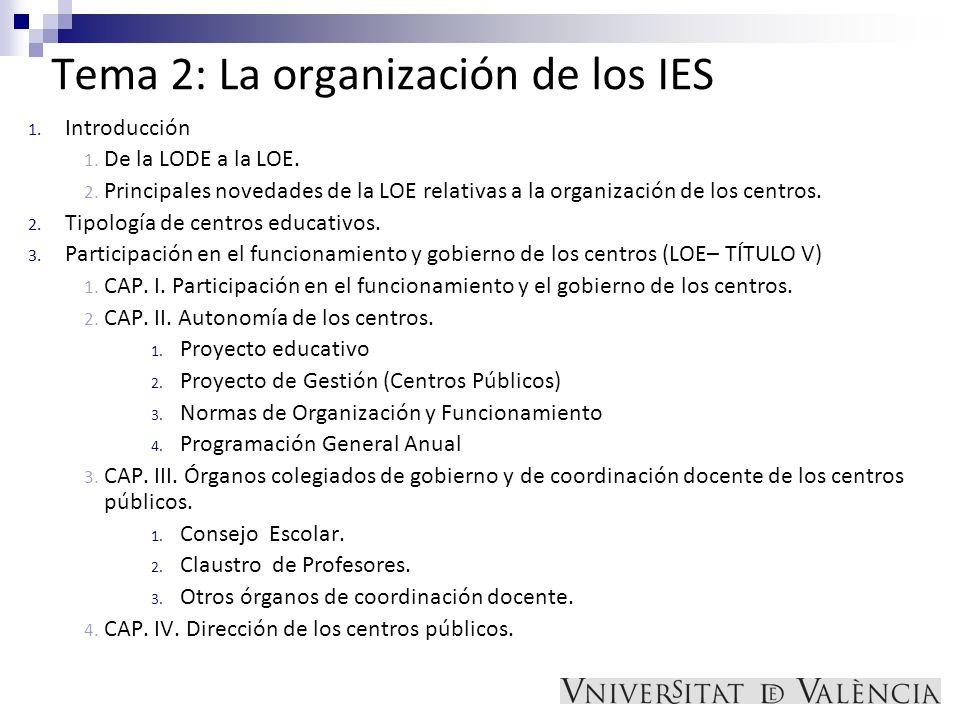 Tema 2: La organización de los IES