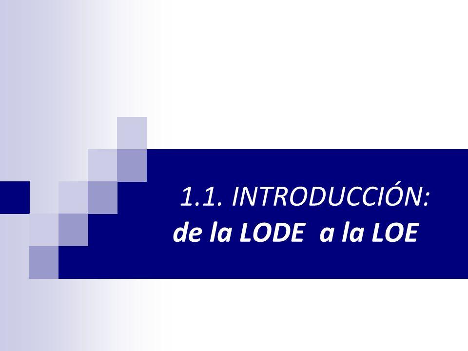 1.1. INTRODUCCIÓN: de la LODE a la LOE
