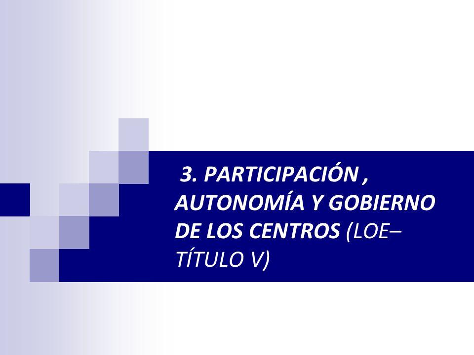 3. PARTICIPACIÓN , AUTONOMÍA Y GOBIERNO DE LOS CENTROS (LOE– TÍTULO V)