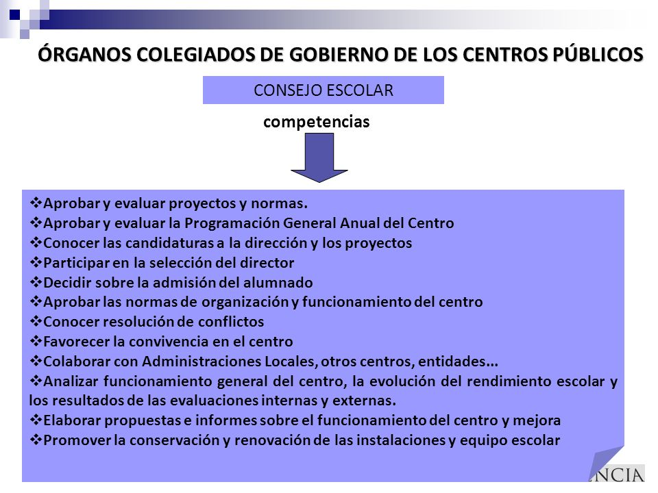 ÓRGANOS COLEGIADOS DE GOBIERNO DE LOS CENTROS PÚBLICOS