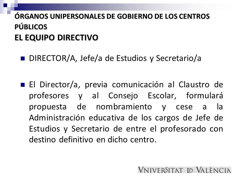 DIRECTOR/A, Jefe/a de Estudios y Secretario/a