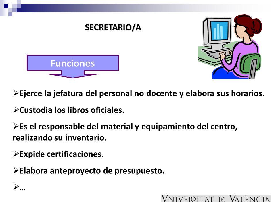 Funciones SECRETARIO/A