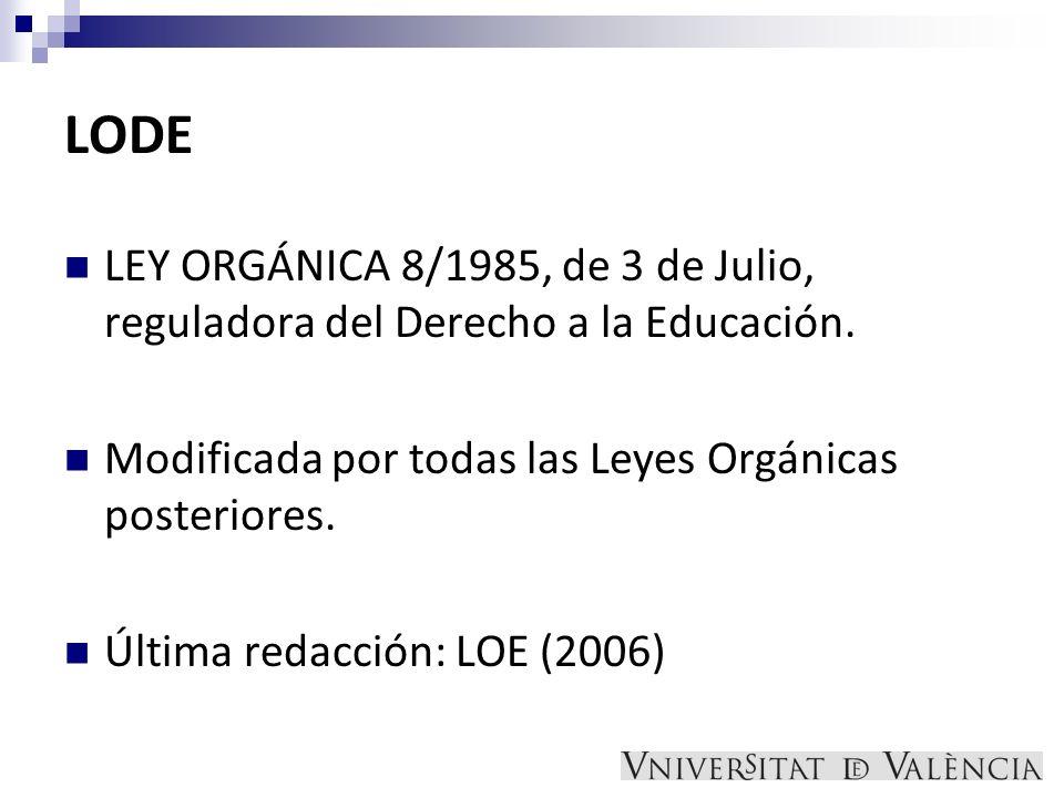 LODE LEY ORGÁNICA 8/1985, de 3 de Julio, reguladora del Derecho a la Educación. Modificada por todas las Leyes Orgánicas posteriores.