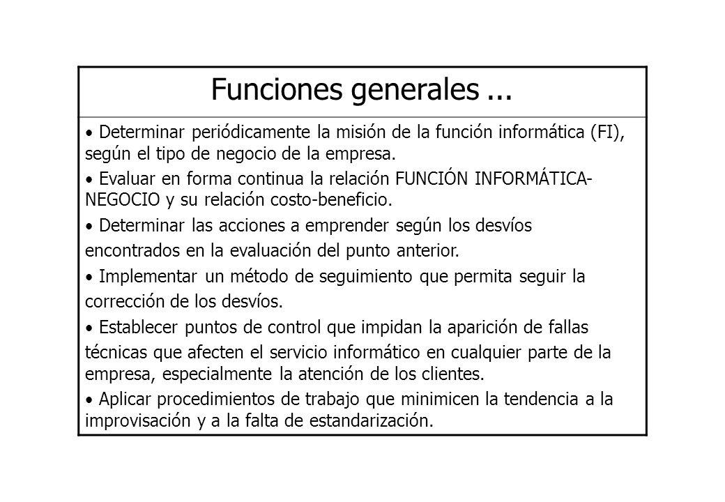 Funciones generales ... Determinar periódicamente la misión de la función informática (FI), según el tipo de negocio de la empresa.