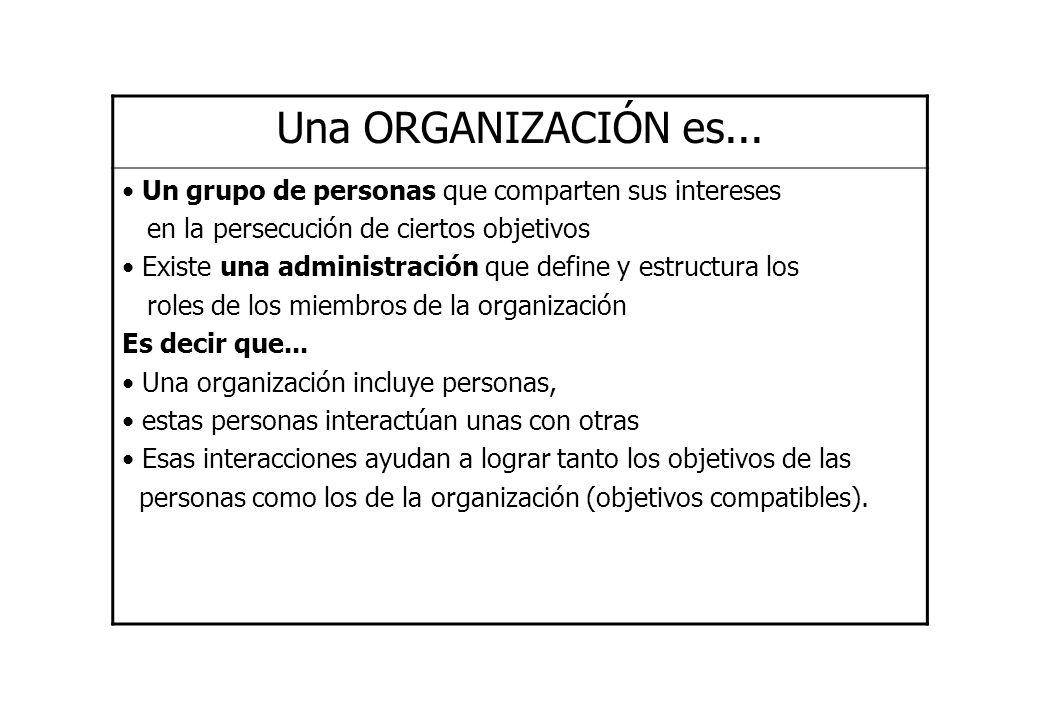 Una ORGANIZACIÓN es... Un grupo de personas que comparten sus intereses. en la persecución de ciertos objetivos.