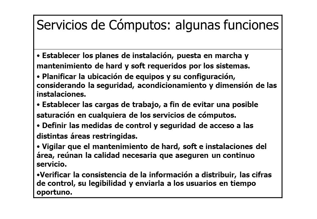 Servicios de Cómputos: algunas funciones