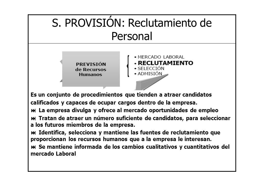 S. PROVISIÓN: Reclutamiento de Personal