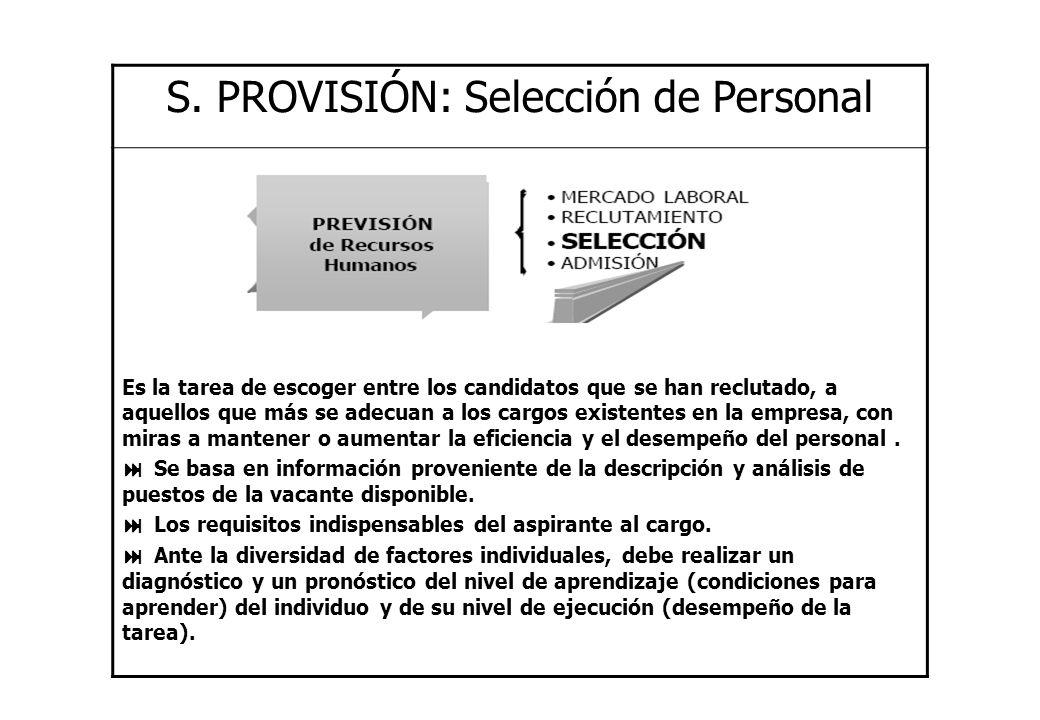 S. PROVISIÓN: Selección de Personal