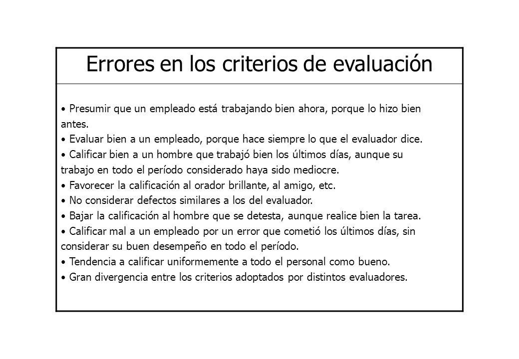 Errores en los criterios de evaluación