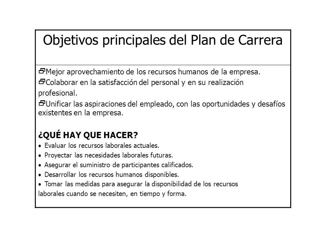 Objetivos principales del Plan de Carrera