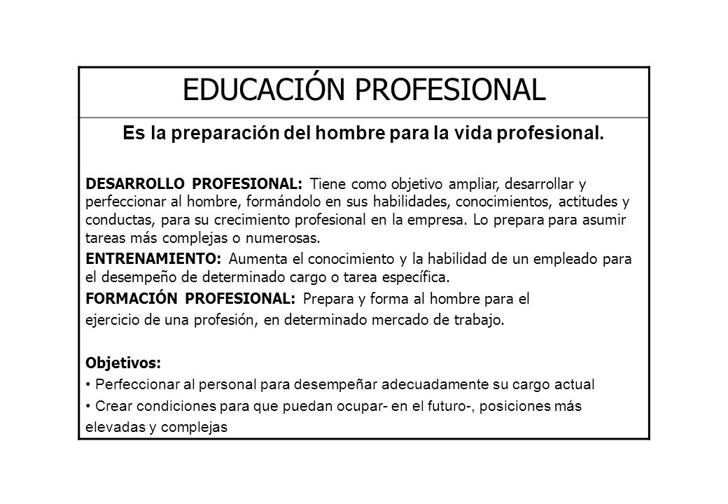Es la preparación del hombre para la vida profesional.