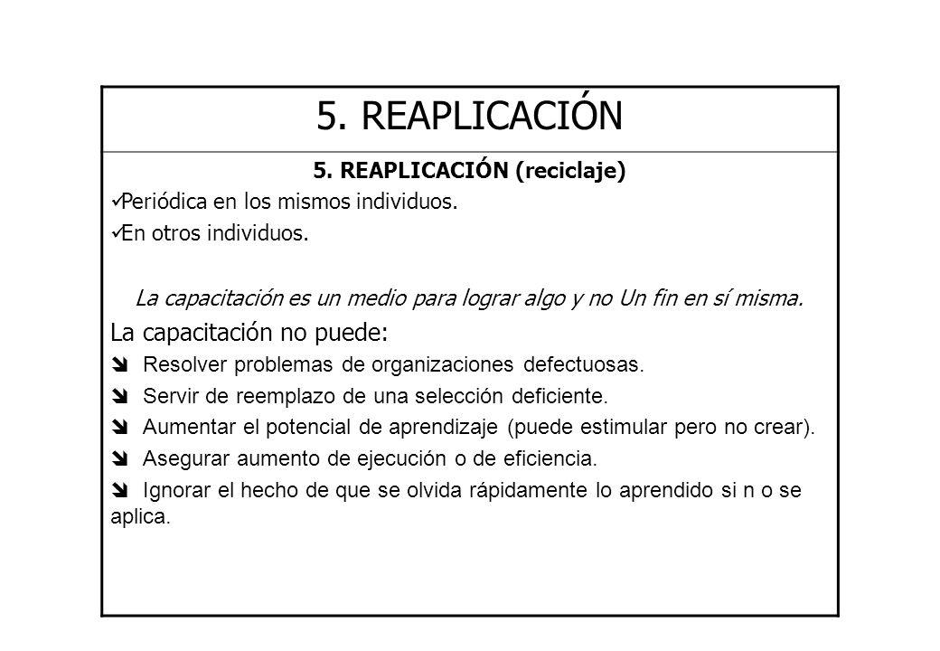 5. REAPLICACIÓN (reciclaje)