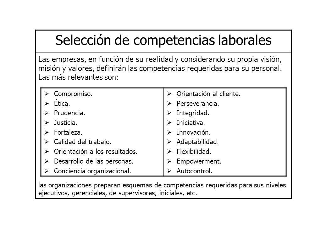 Selección de competencias laborales