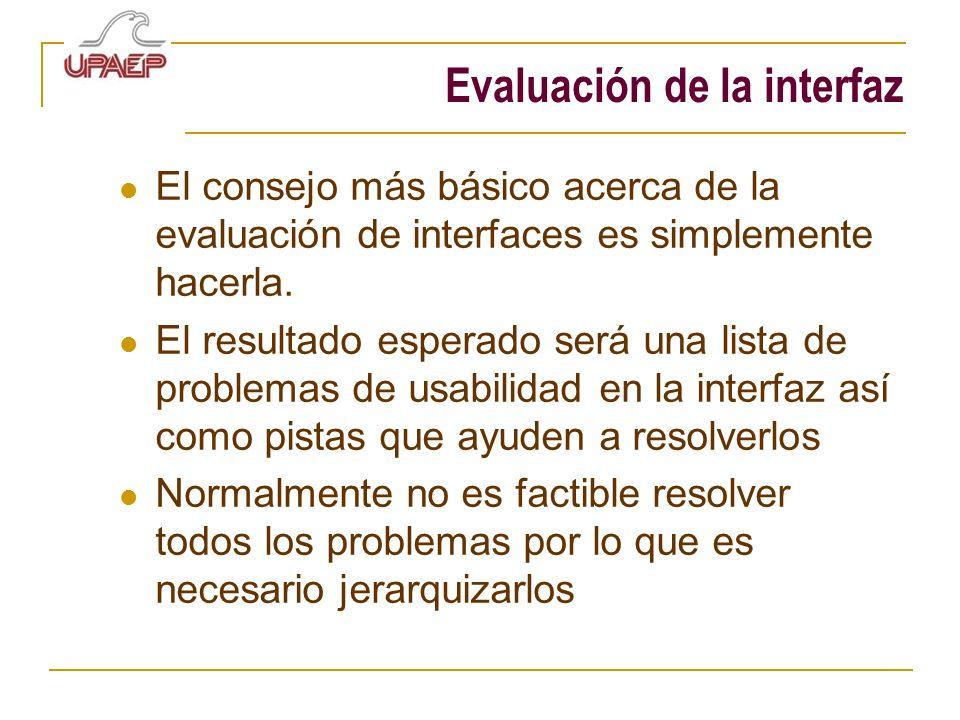 Evaluación de la interfaz