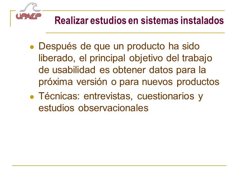 Realizar estudios en sistemas instalados