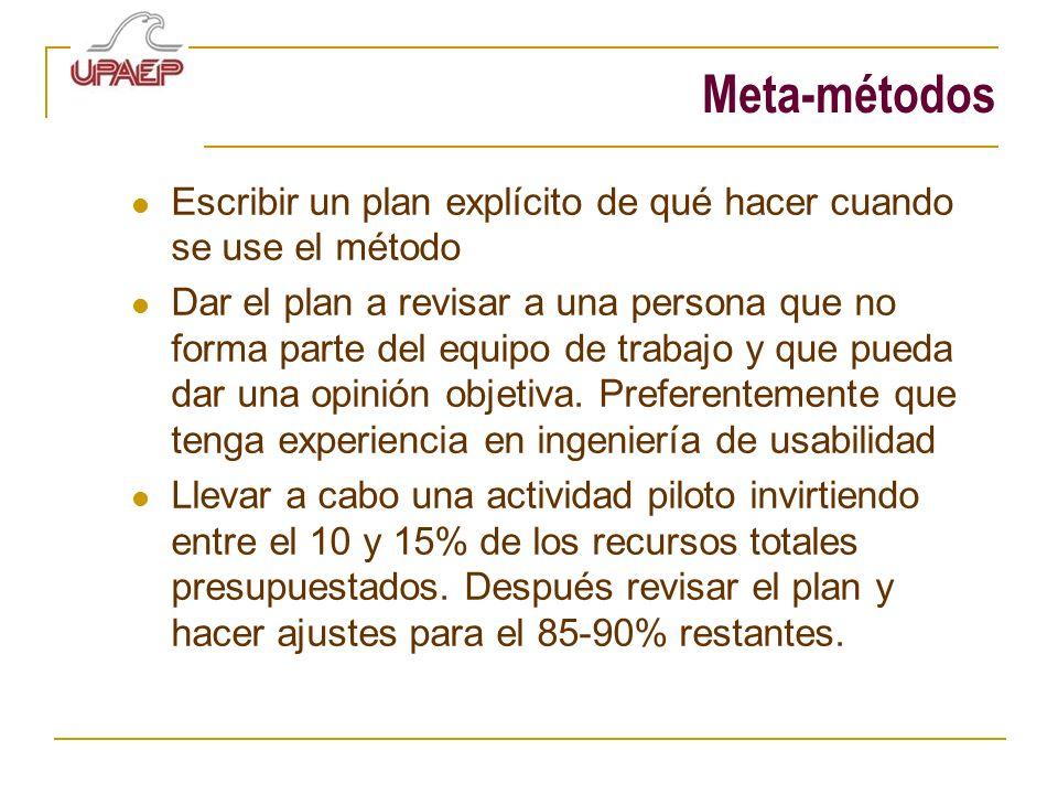 Meta-métodos Escribir un plan explícito de qué hacer cuando se use el método.