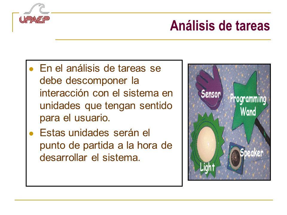 Análisis de tareas En el análisis de tareas se debe descomponer la interacción con el sistema en unidades que tengan sentido para el usuario.