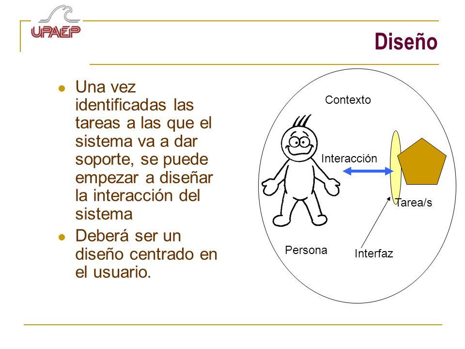 Diseño Una vez identificadas las tareas a las que el sistema va a dar soporte, se puede empezar a diseñar la interacción del sistema.