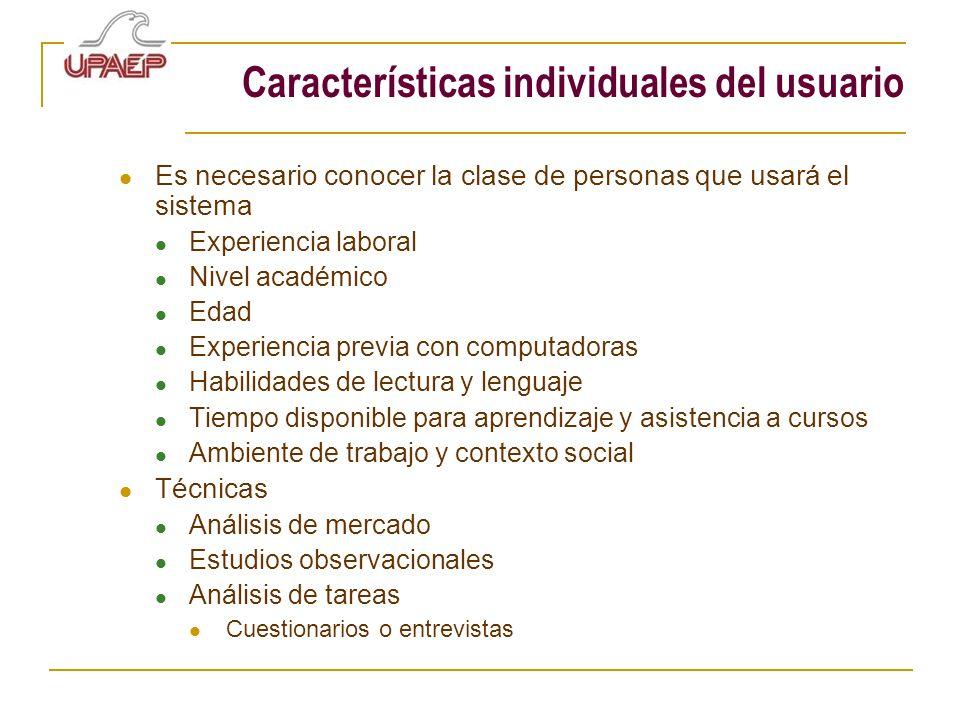 Características individuales del usuario