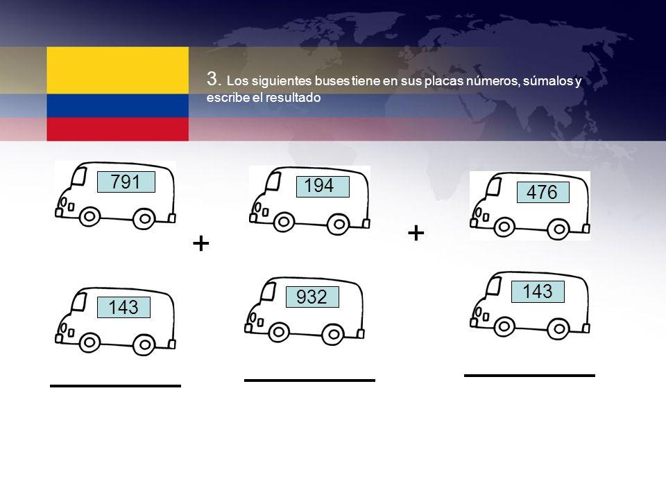 3. Los siguientes buses tiene en sus placas números, súmalos y escribe el resultado