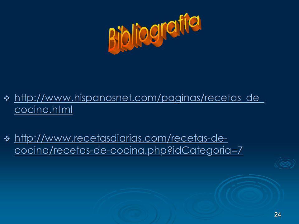 Bibliografía http://www.hispanosnet.com/paginas/recetas_de_cocina.html