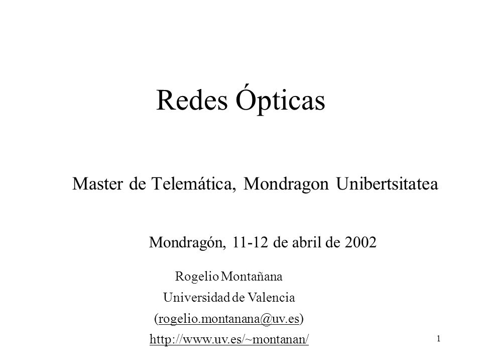 Master de Telemática, Mondragon Unibertsitatea