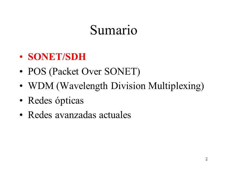 Sumario SONET/SDH POS (Packet Over SONET)