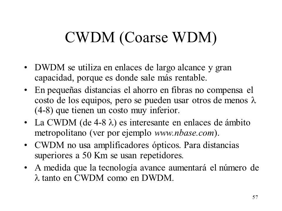 CWDM (Coarse WDM) DWDM se utiliza en enlaces de largo alcance y gran capacidad, porque es donde sale más rentable.
