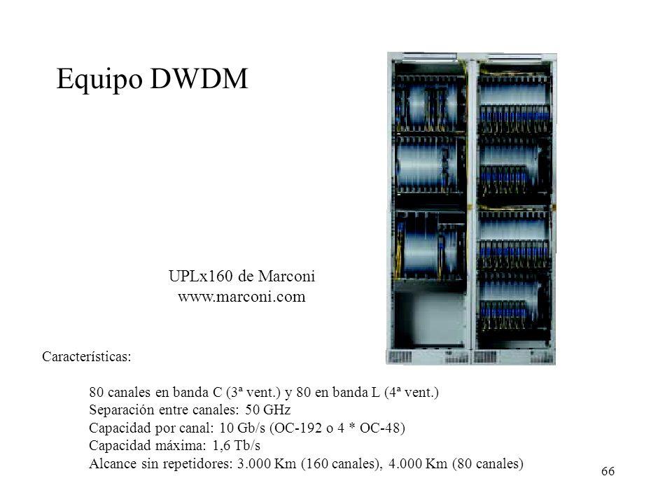 Equipo DWDM UPLx160 de Marconi www.marconi.com Características: