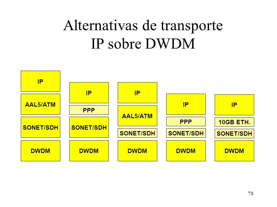 Alternativas de transporte IP sobre DWDM