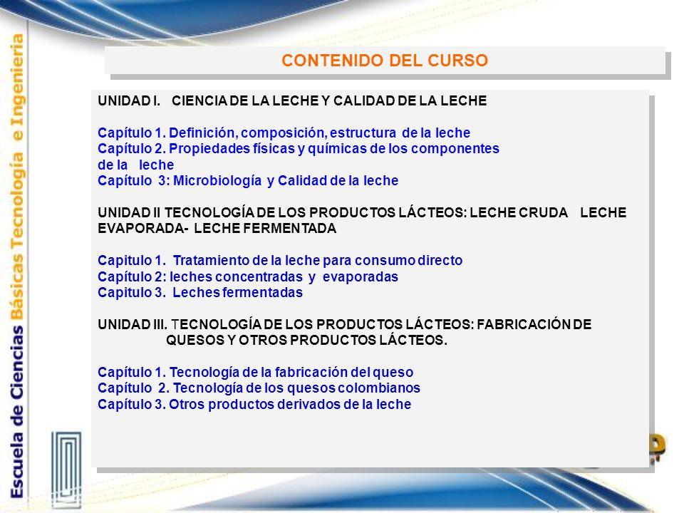 CONTENIDO DEL CURSO UNIDAD I. CIENCIA DE LA LECHE Y CALIDAD DE LA LECHE. Capítulo 1. Definición, composición, estructura de la leche.