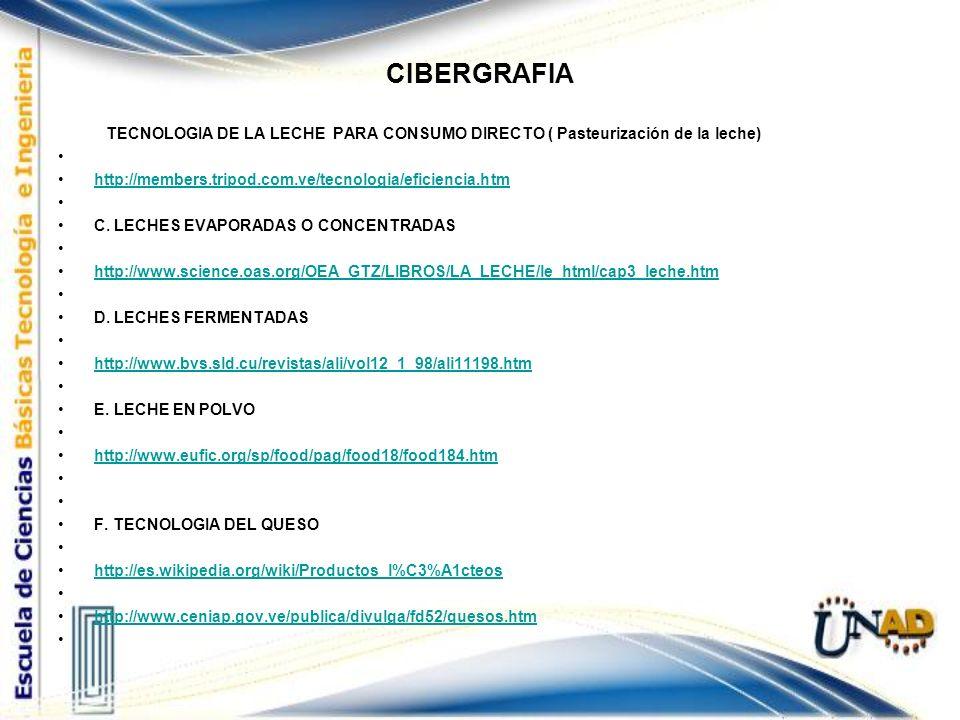 CIBERGRAFIA TECNOLOGIA DE LA LECHE PARA CONSUMO DIRECTO ( Pasteurización de la leche) http://members.tripod.com.ve/tecnologia/eficiencia.htm.