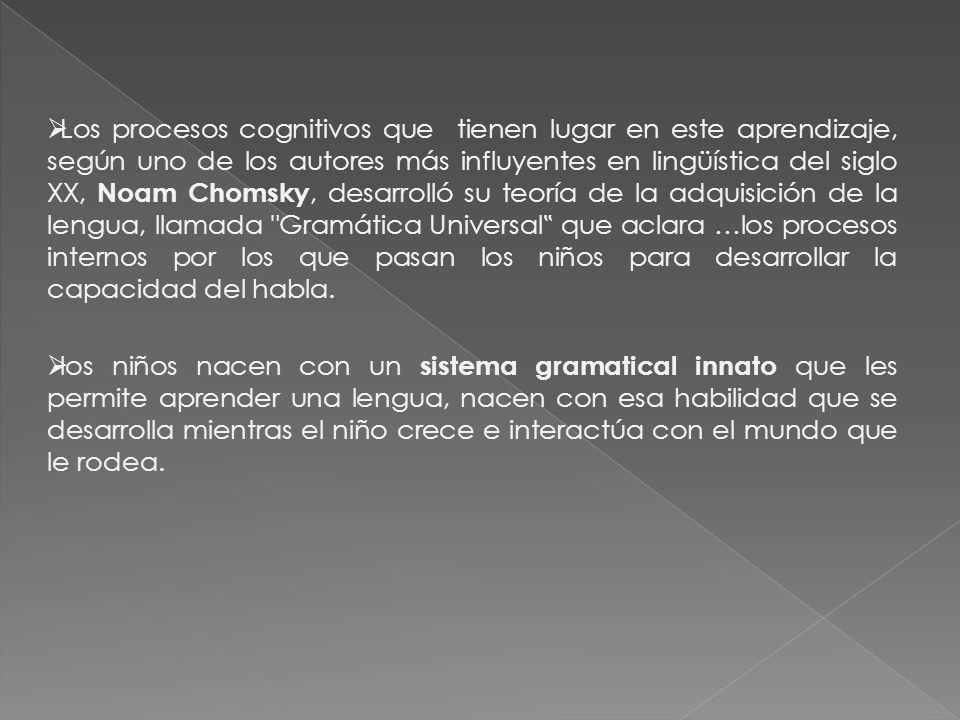 """Los procesos cognitivos que tienen lugar en este aprendizaje, según uno de los autores más influyentes en lingüística del siglo XX, Noam Chomsky, desarrolló su teoría de la adquisición de la lengua, llamada Gramática Universal"""" que aclara …los procesos internos por los que pasan los niños para desarrollar la capacidad del habla."""