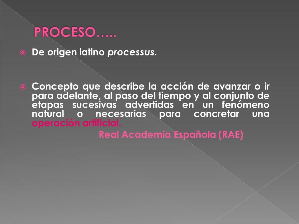 PROCESO….. De origen latino processus.