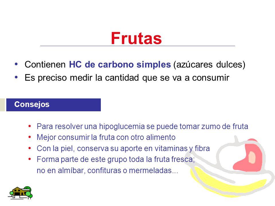 Frutas Contienen HC de carbono simples (azúcares dulces)