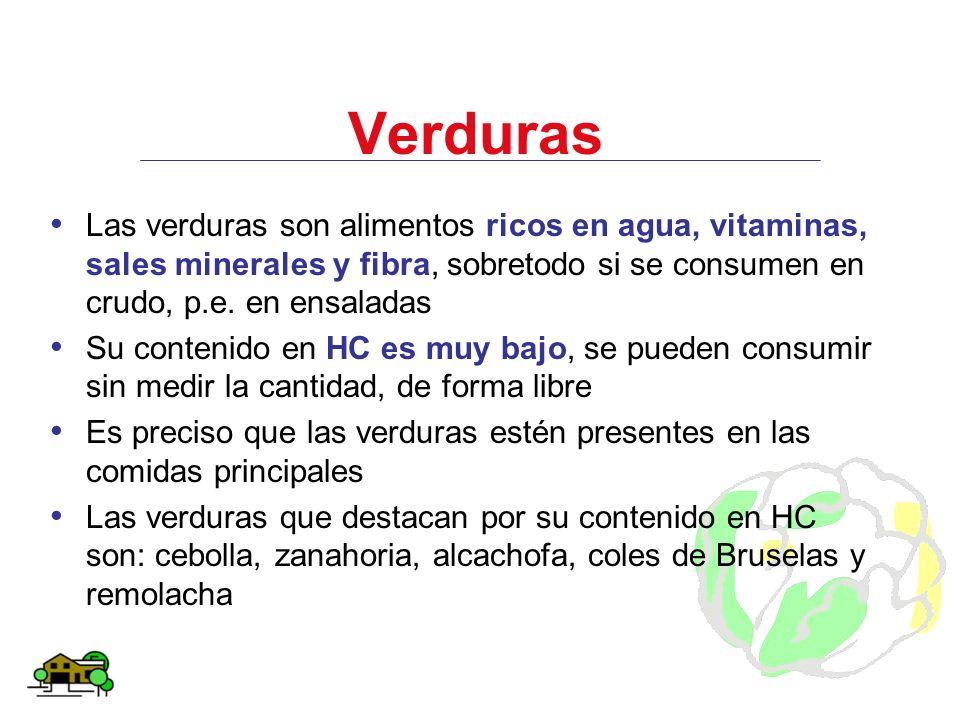 Verduras Las verduras son alimentos ricos en agua, vitaminas, sales minerales y fibra, sobretodo si se consumen en crudo, p.e. en ensaladas.