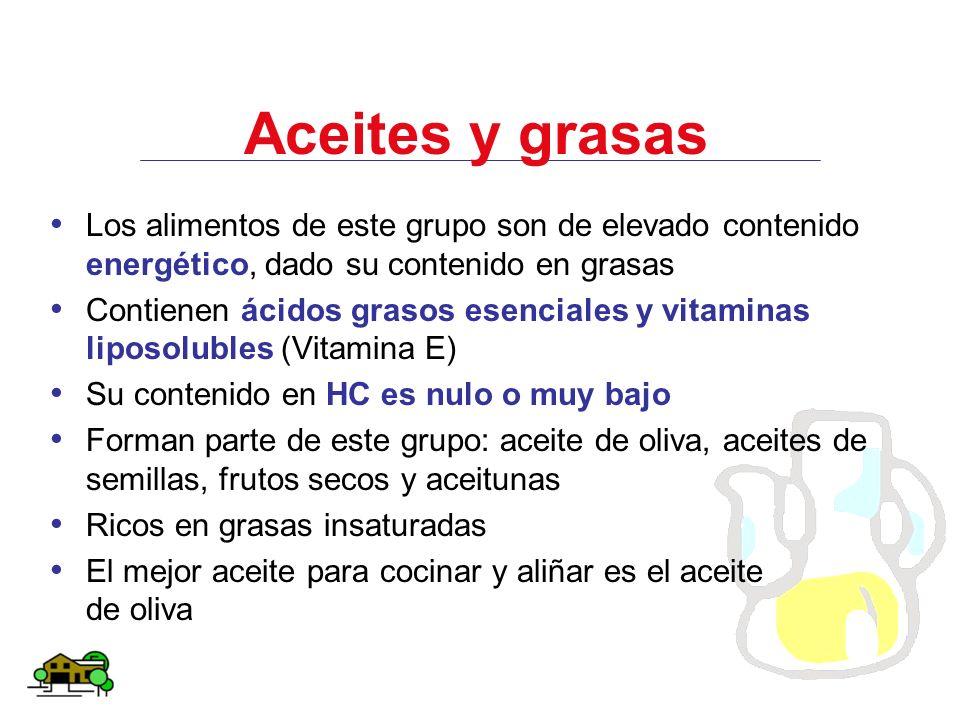 Aceites y grasas Los alimentos de este grupo son de elevado contenido energético, dado su contenido en grasas.