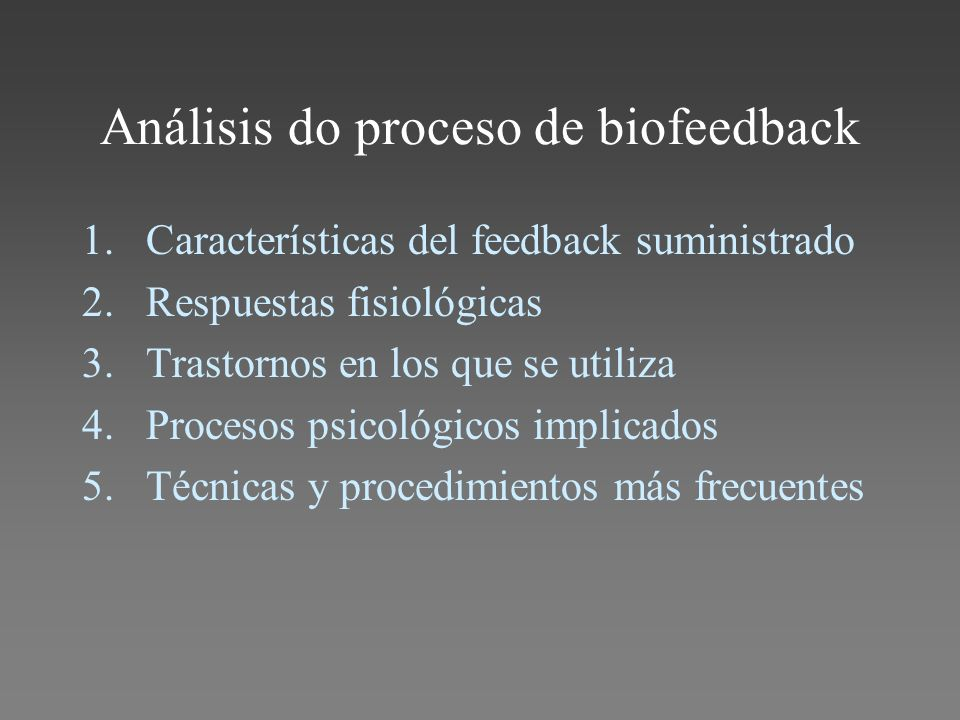 Análisis do proceso de biofeedback
