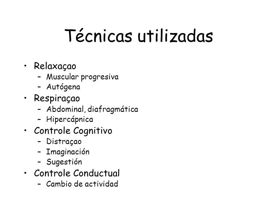 Técnicas utilizadas Relaxaçao Respiraçao Controle Cognitivo