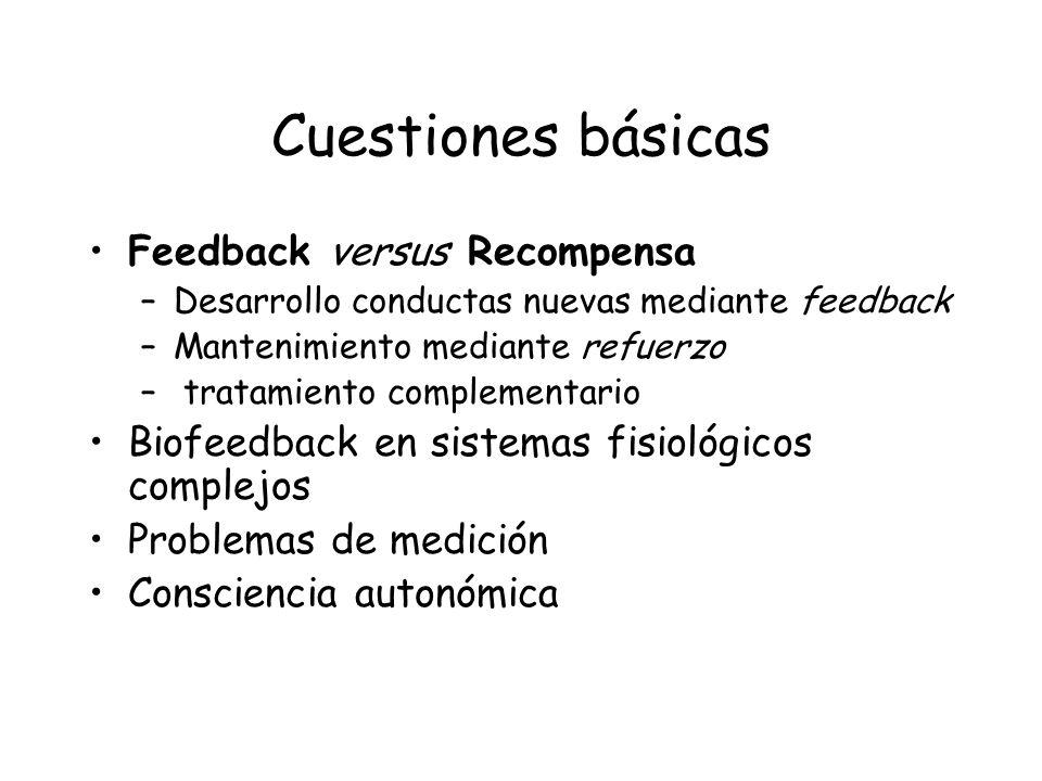 Cuestiones básicas Feedback versus Recompensa