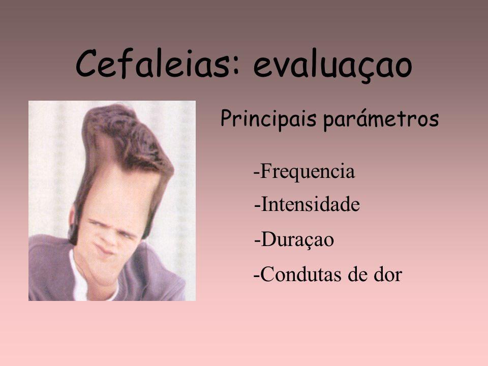 Cefaleias: evaluaçao Principais parámetros -Frequencia -Intensidade