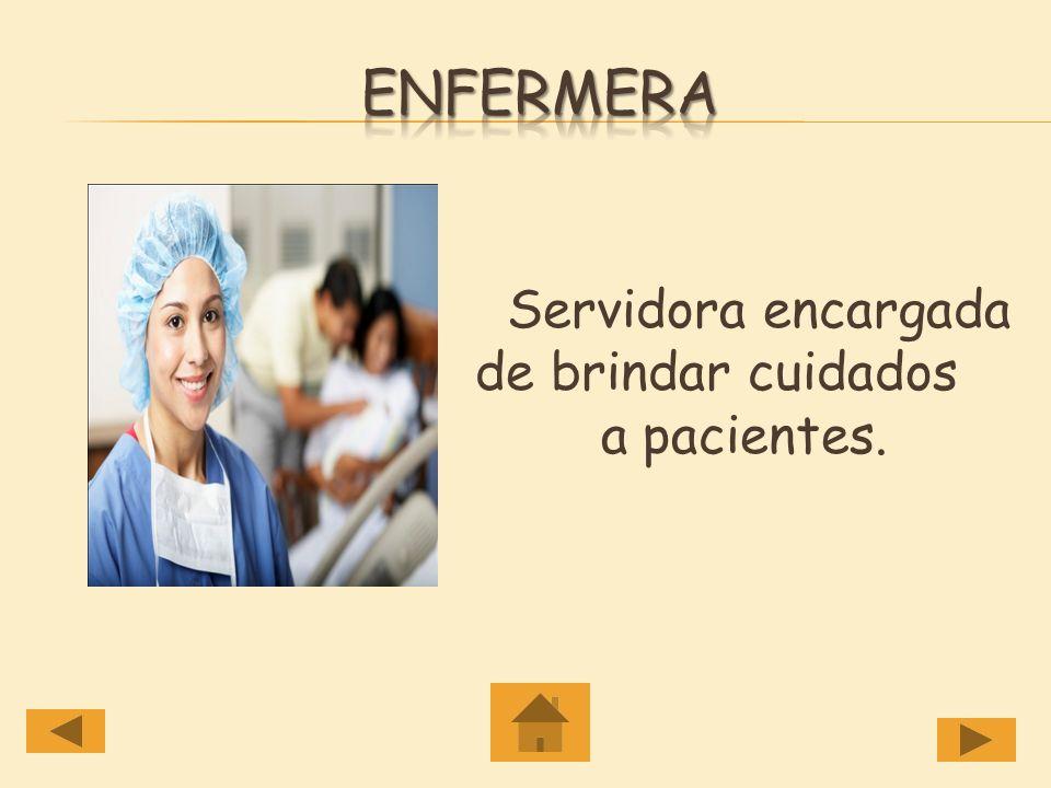 Enfermera Servidora encargada de brindar cuidados a pacientes.