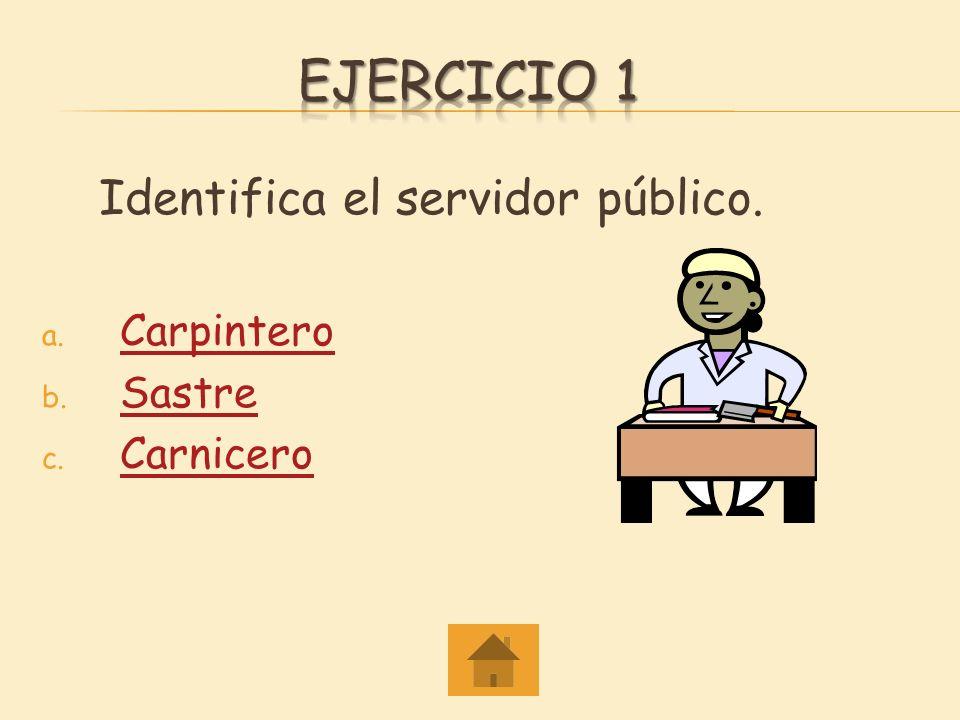 Ejercicio 1 Identifica el servidor público. Carpintero Sastre