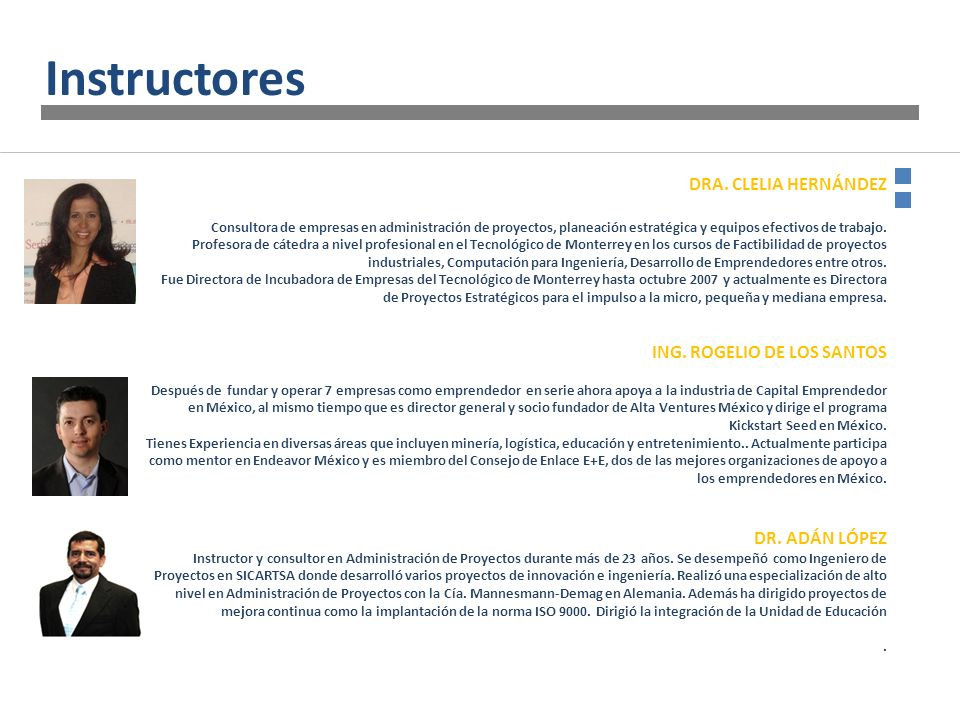 Instructores DRA. CLELIA HERNÁNDEZ ING. ROGELIO DE LOS SANTOS