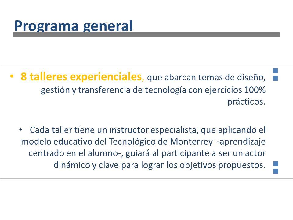 Programa general 8 talleres experienciales, que abarcan temas de diseño, gestión y transferencia de tecnología con ejercicios 100% prácticos.