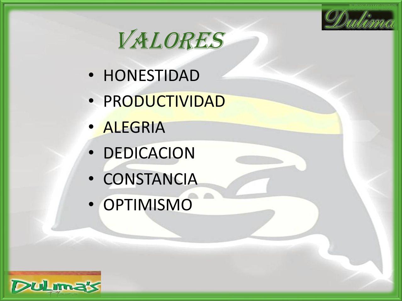 VALORES HONESTIDAD PRODUCTIVIDAD ALEGRIA DEDICACION CONSTANCIA