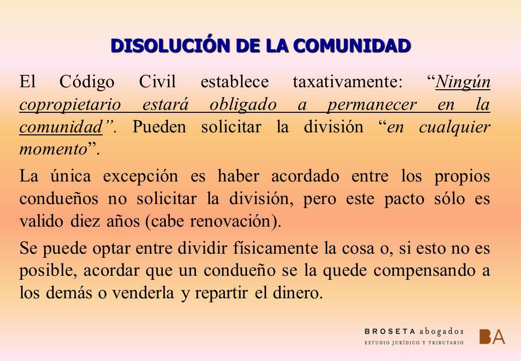 DISOLUCIÓN DE LA COMUNIDAD