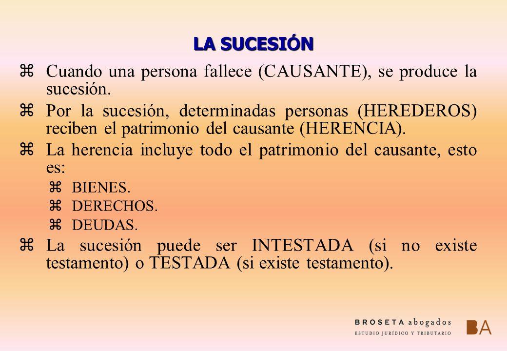 Cuando una persona fallece (CAUSANTE), se produce la sucesión.